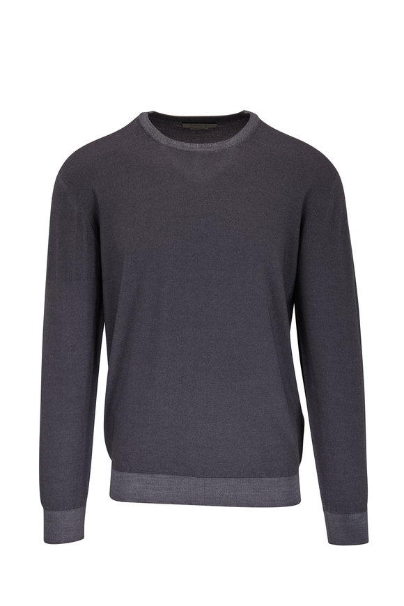 Corneliani Dark Gray Wool Crewneck Pullover