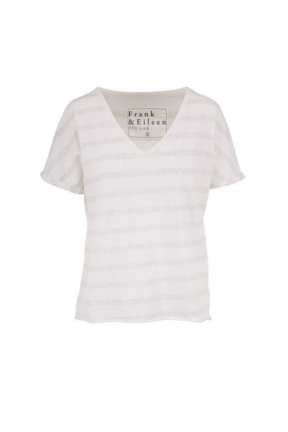 Frank & Eileen Heather White & Gray Stripe T-Shirt