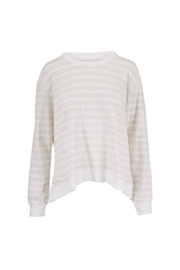 Frank & Eileen Heather White & Gray Stripe Sweatshirt