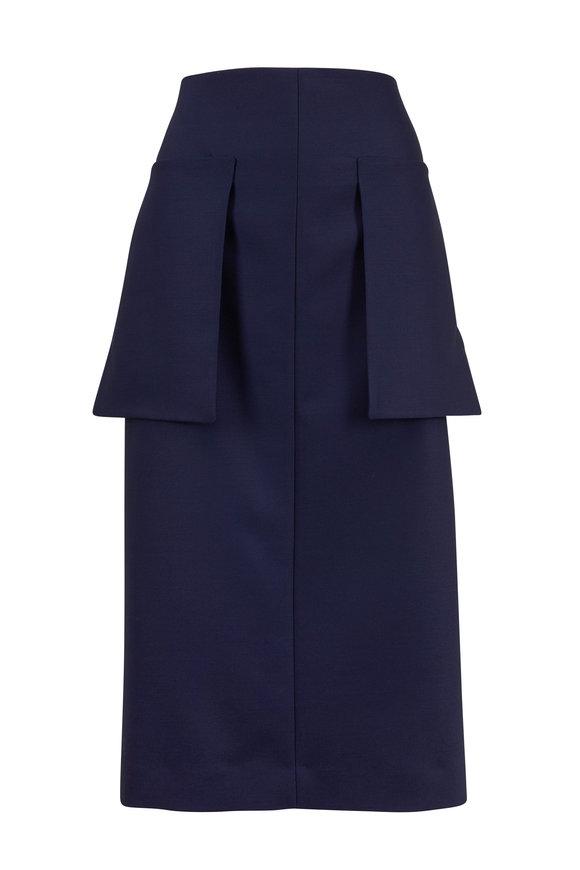 The Row Jenna French Blue Techwool Midi Skirt