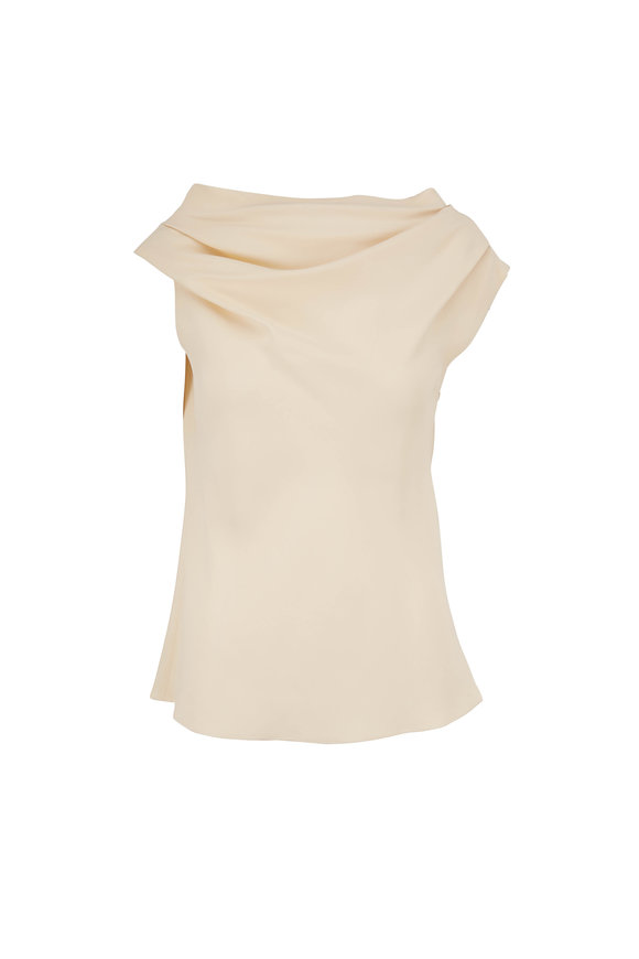 The Row Tuma Vanilla Gathered Shoulder Top