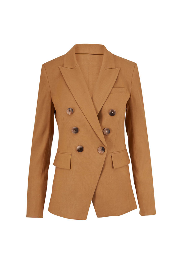 Veronica Beard Lonny Camel Double-Breasted Dickey Jacket