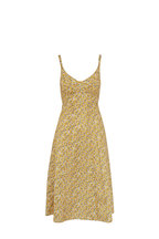 R13 - Yellow Floral Sleeveless Corset Midi Dress