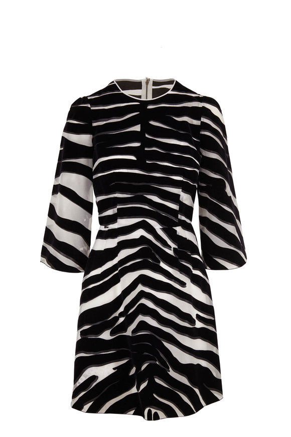 Dolce & Gabbana Black & White Organza Flocked Zebra Print Dress