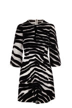Dolce & Gabbana - Black & White Organza Flocked Zebra Print Dress