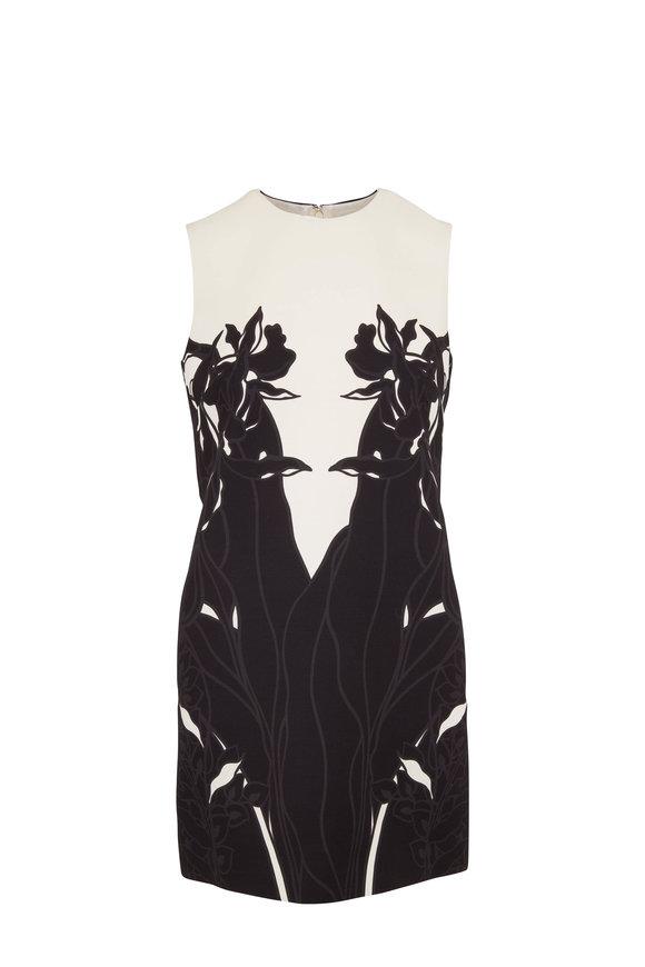 Valentino Black & Ivory Wool & Silk Sleeveless Shift Dress