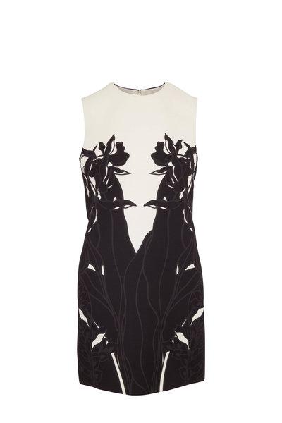 Valentino - Black & Ivory Wool & Silk Sleeveless Shift Dress