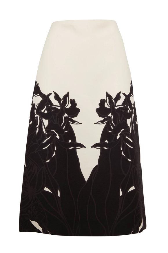 Valentino Ivory & Black Shadow Floral Midi Skirt