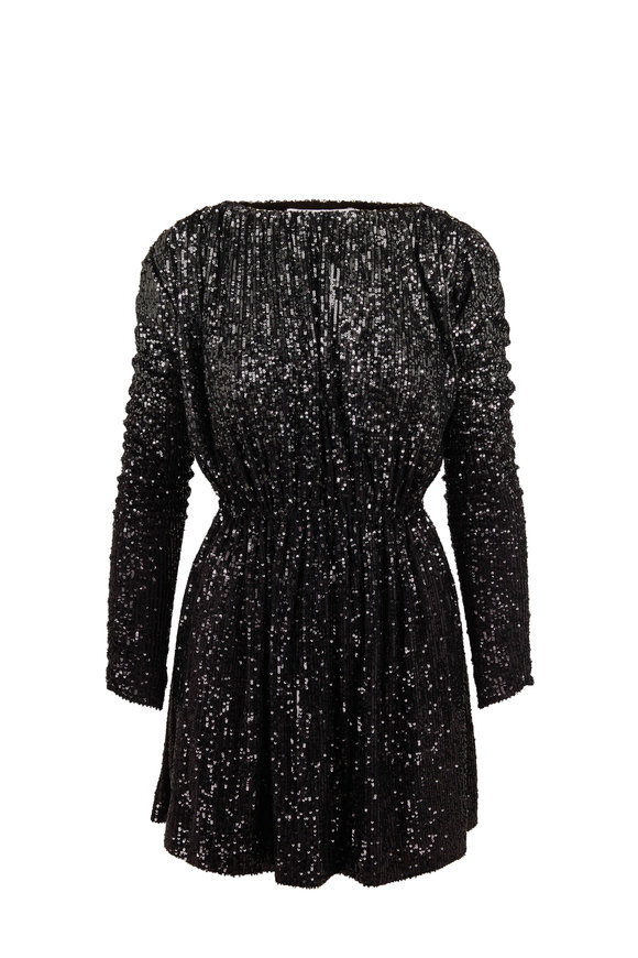 Black Dégradé Sequin Gathered Mini Dress