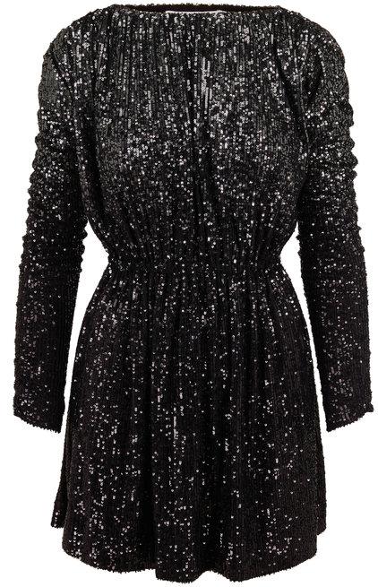 Saint Laurent Black Dégradé Sequin Gathered Mini Dress
