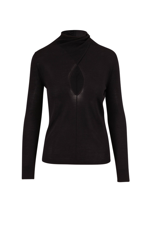 Tom Ford Black Cashmere & Silk Keyhole Front Knit Top