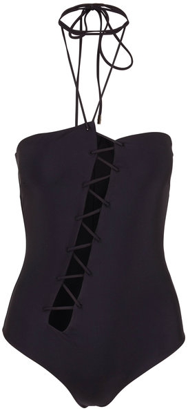 Tom Ford Black Asymmetric Lace Up Swimsuit