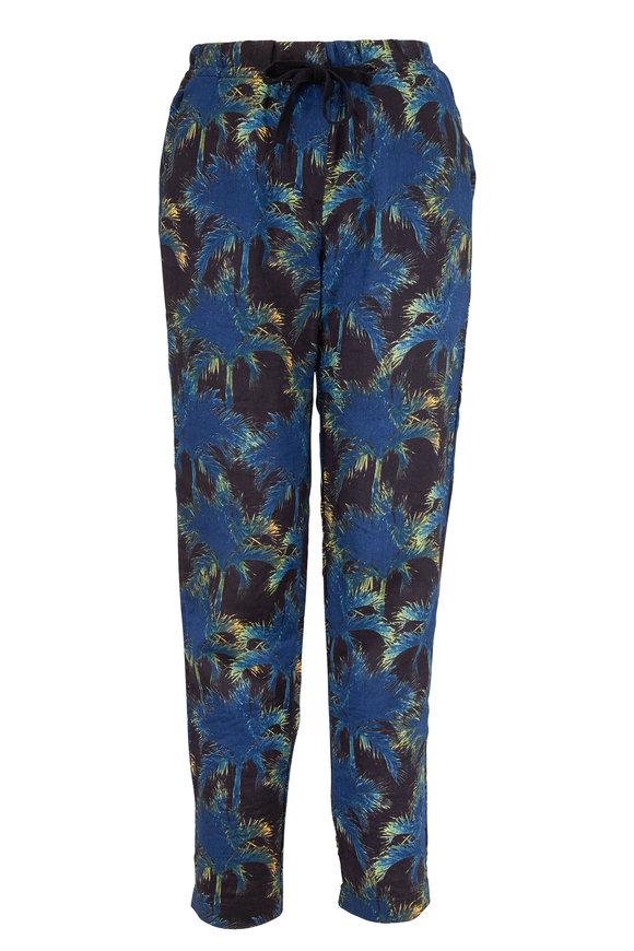 Overlover Black & Neon Yucca Palms Linen Drawstring Pant