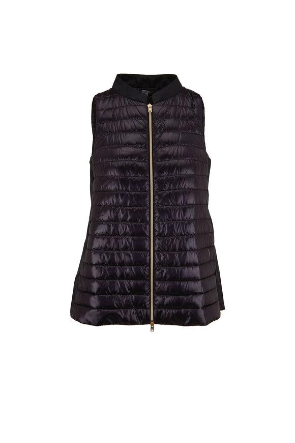 Herno Black Taffeta Back Puffer Vest