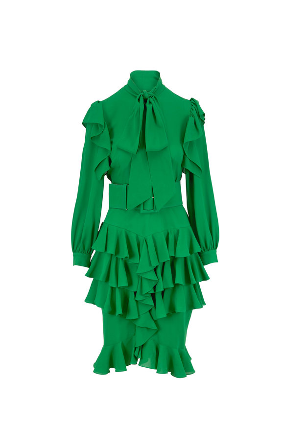 Michael Kors Collection Kelly Green Silk Georgette Ruffle Dress