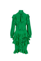 Michael Kors Collection - Kelly Green Silk Georgette Ruffle Dress