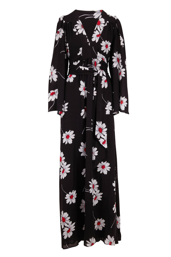 Michael Kors Collection Black & Red Floral Silk Georgette Caftan