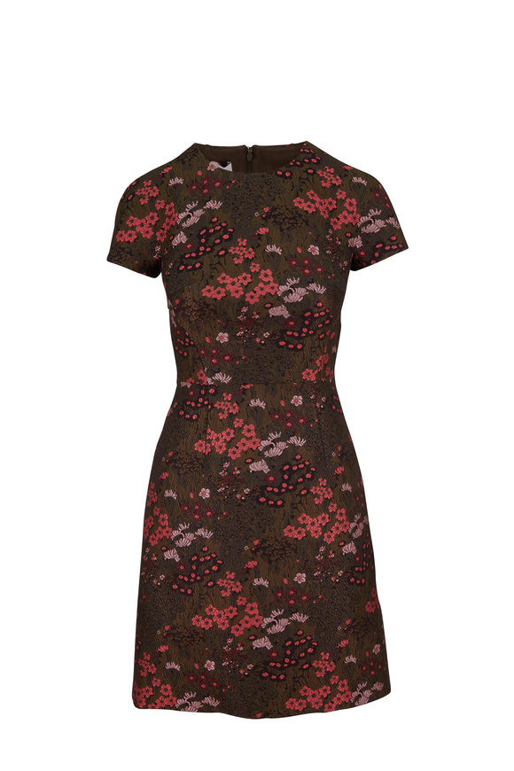 Michael Kors Collection Rosewood & Spruce Brocade Short Sleeve Dress