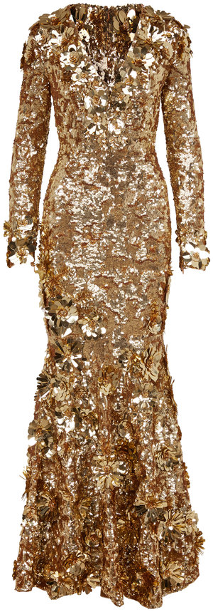 Michael Kors Collection Sun Sequin Embellished Long Sleeve Gown