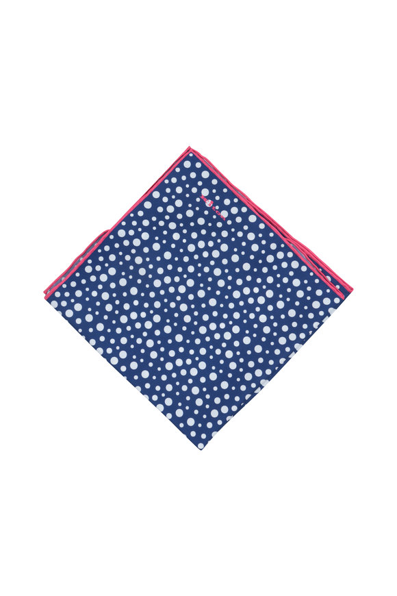 Kiton Navy Blue Dot Pattern Silk pocket Square