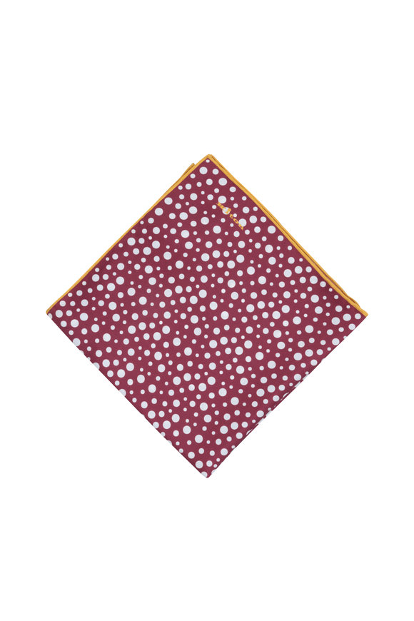 Kiton Burgundy Dot Pattern Silk Pocket Square