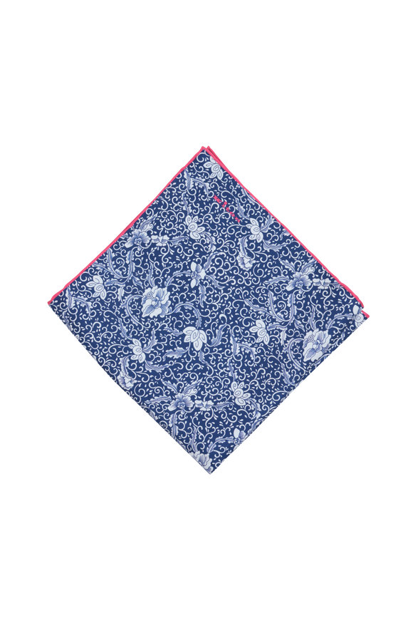 Kiton Navy Blue Floral Silk Pocket Square