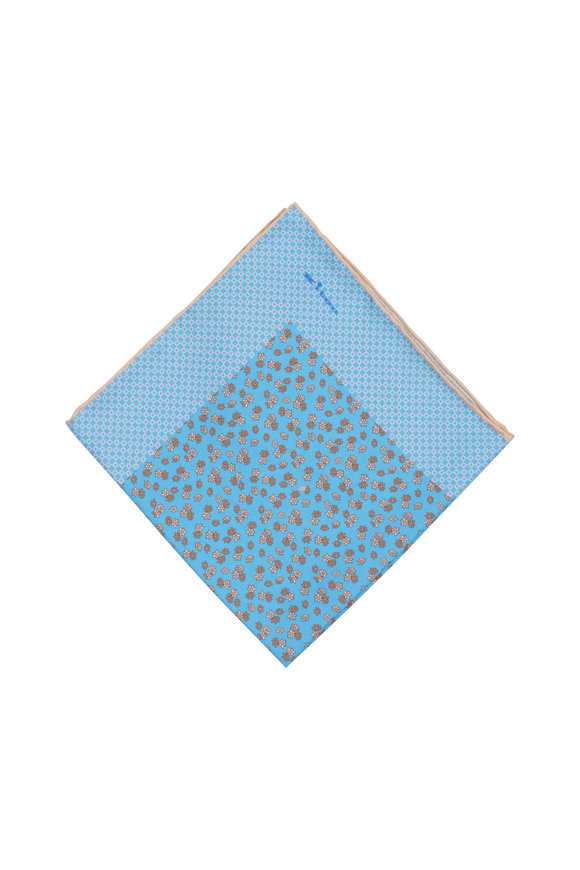 Kiton Upoche Light Blue Floral Silk Pocket Square