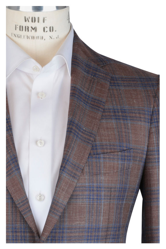 Mauro Blasi Brown & Blue Plaid Wool, Silk & Linen Sportcoat