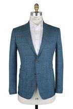 Mauro Blasi - Teal & Brown Plaid Wool, Silk & Linen Sportcoat