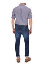 Brunello Cucinelli -  Navy Blue & Brown Gingham Basic Fit Sport Shirt