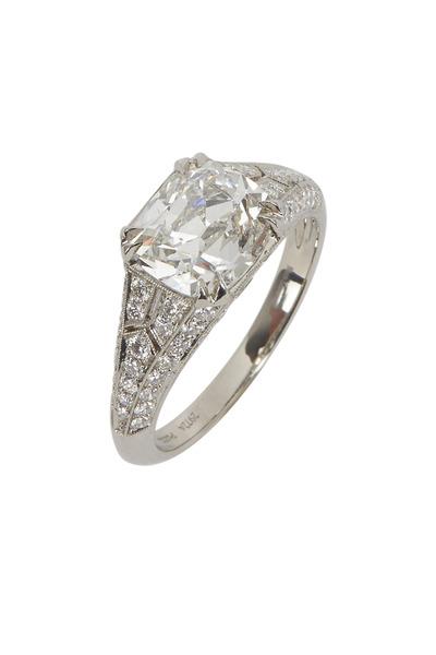 Fred Leighton - Platinum Cushion-Cut Diamond Bridal Ring