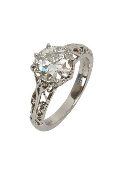 Fred Leighton - Platinum Round Diamond Filigree Bridal Ring