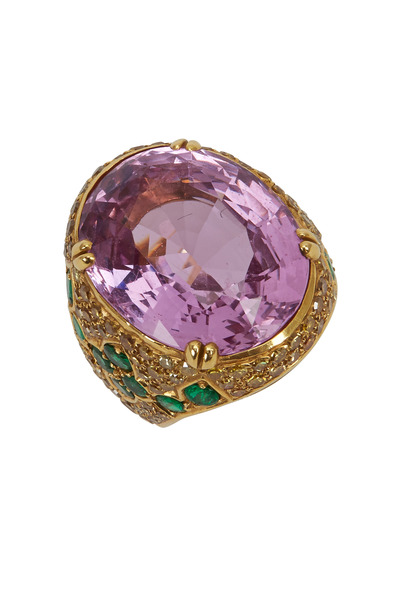Fred Leighton - Gold Pink Topaz Emerald Canary Diamond Ring
