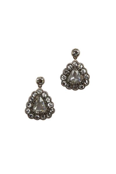 Fred Leighton - Yellow Gold & Silver Diamond Pendant Earrings