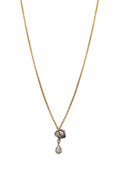 Fred Leighton - Yellow Gold Snake Slider Diamond Pendant