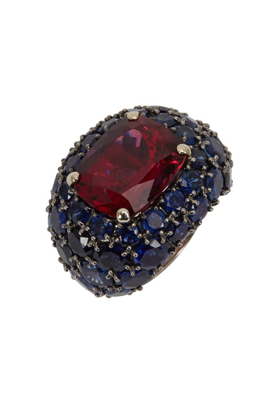 Fred Leighton - White Gold Rubelite & Sapphire Cocktail Ring
