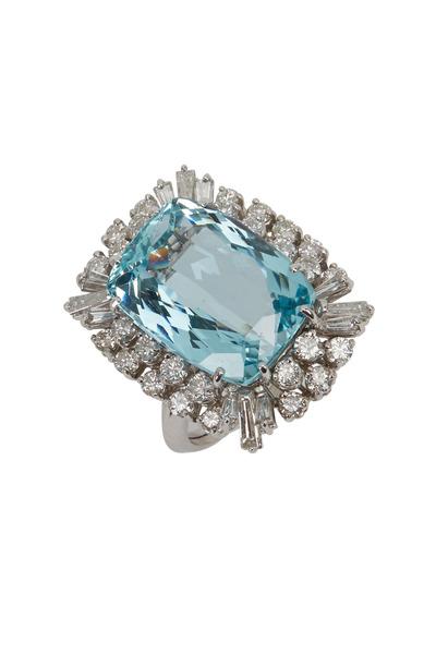 Fred Leighton - White Gold Aquamarine Diamond Cocktail Ring