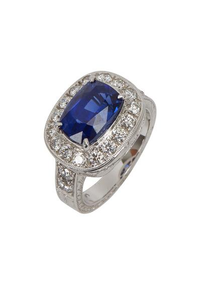 Fred Leighton - White Gold & Platinum Blue Sapphire Diamond Ring