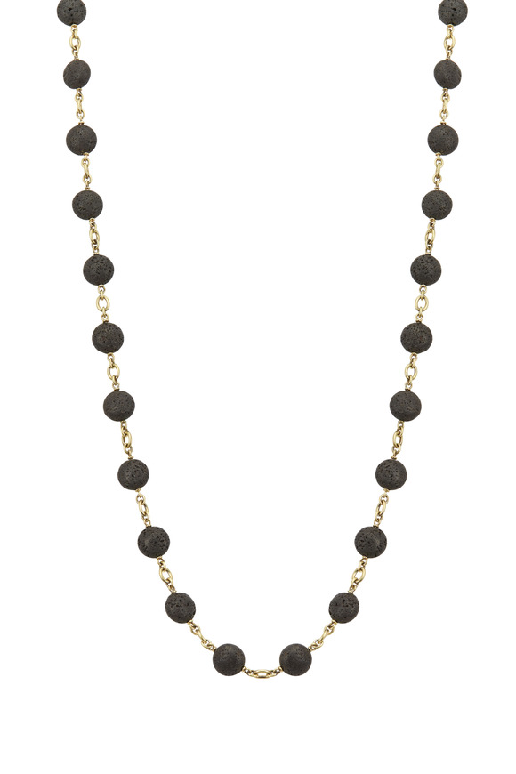 Sylva & Cie Yellow Gold Lava Bead Necklace