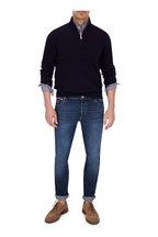 Brunello Cucinelli - Navy Cashmere Quarter-Zip Pullover