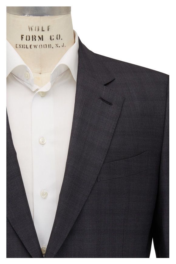 Ermenegildo Zegna Charcoal Gray Wool & Silk Suit