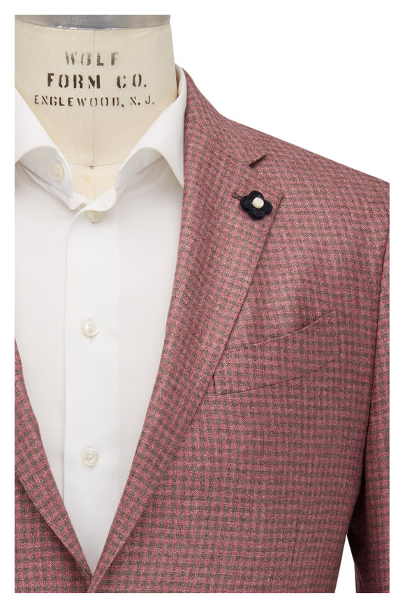 Lardini Light Pink & Brown Plaid Silk & Cashmere Sportcoat