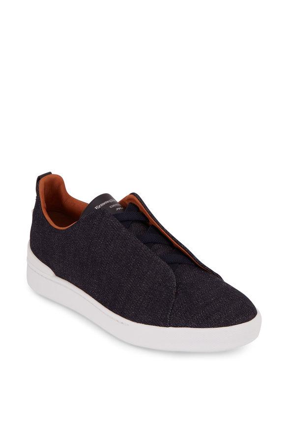 Ermenegildo Zegna Triple Stitch Navy Blue Denim Elasticized Sneaker