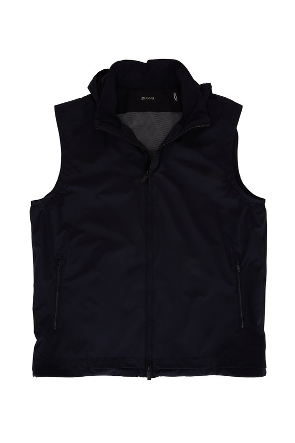 Z Zegna Navy Water Repellent Front Zip Vest