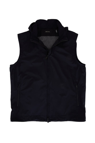 Z Zegna - Navy Water Repellent Front Zip Vest