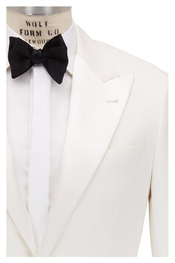 Brunello Cucinelli Panama White Silk Peak Lapel Dinner Jacket