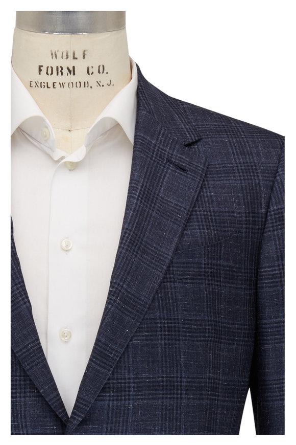 Ermenegildo Zegna Navy Blue Plaid Cashmere Blend Sportcoat