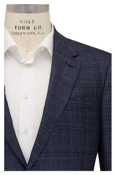 Ermenegildo Zegna - Navy Blue Plaid Cashmere Blend Sportcoat