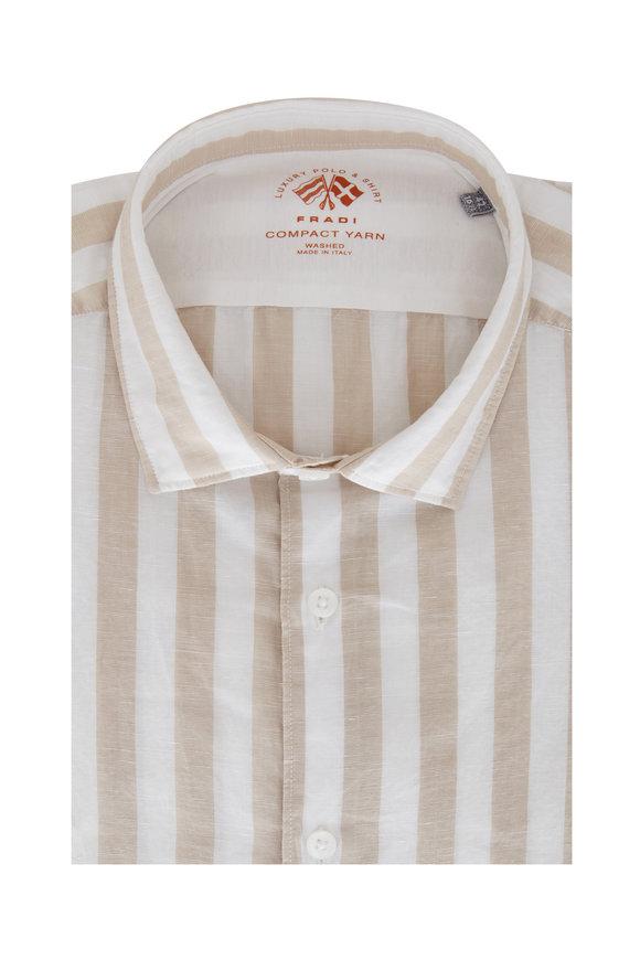 Fradi Beige & White Striped Cotton Blend Sport Shirt