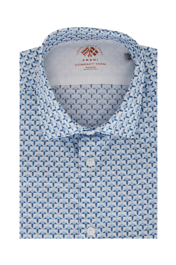 Fradi Light Blue Geometric Sport Shirt